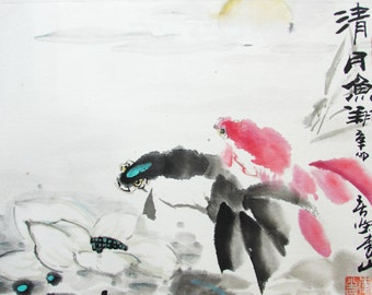Double Colourful Fish Swim On The Silent Night The Asian Watercolor Painting With Elegant Taste  - 1307