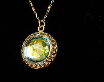 Vintage Swarovski Necklace, Gold Necklace, Crystal Necklace, Beehive Tabac Eye Gold Necklace,  Crown Necklace Setting, Rainbow
