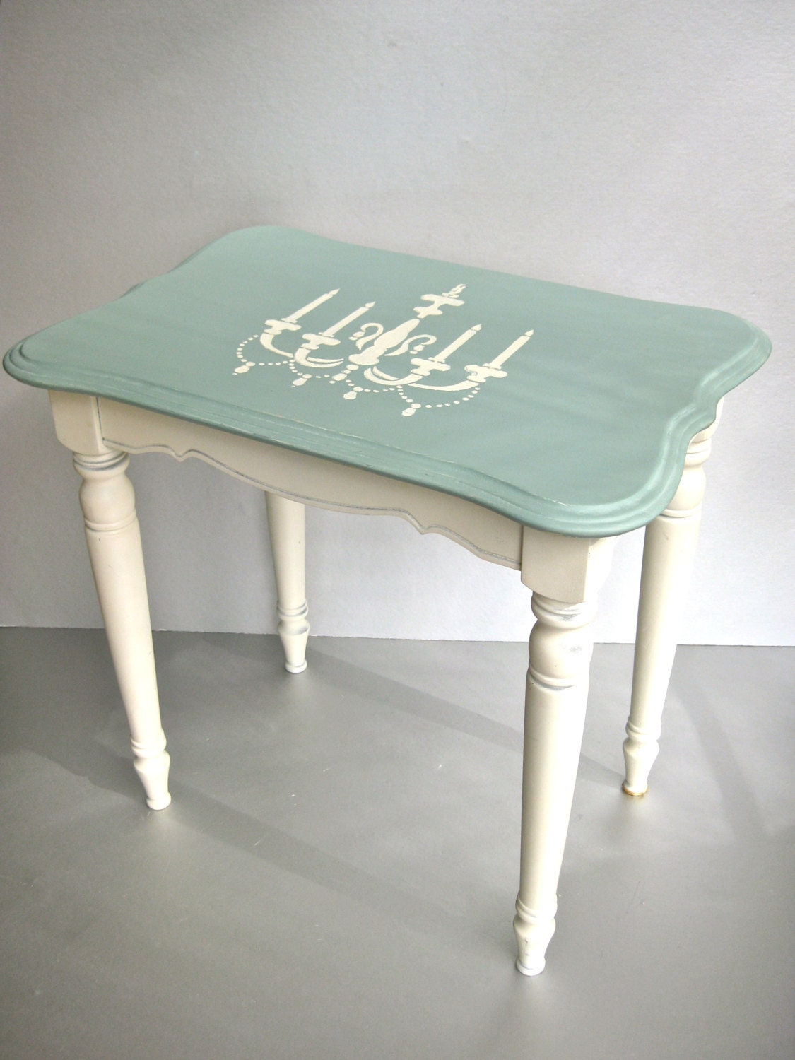Shabby Side Table Vintage Table Wood Table Aqua By Swede13
