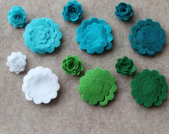 Pebble Beach - 3D Rolled Roses - 24 Die Cut Felt Flowers - Unassembled Rosettes