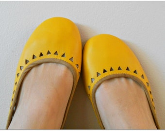 AZTEC- Ballet Flats - Leather Shoes - 38- Mustard Leather