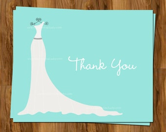 Wedding Shower Thank You Cards Bridal Shower Thank You Notes With Dress Set Of 24 Cards With