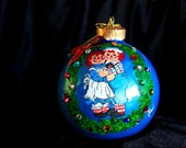 HAND PAINTED ORNAMENT-Raggedy Ann and Andy W/3D Effect-Item 535