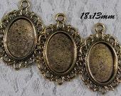 18x13mm Antique Gold Setting - Old World Lace - 3pcs : sku 09.10.12.3 - Q24