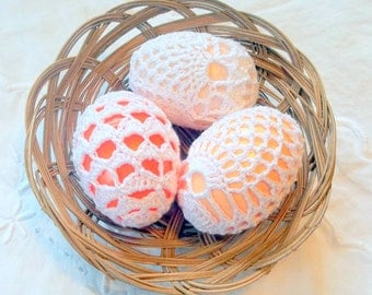 Crochet Lace Covered Plastic Easter Egg Set of 3
