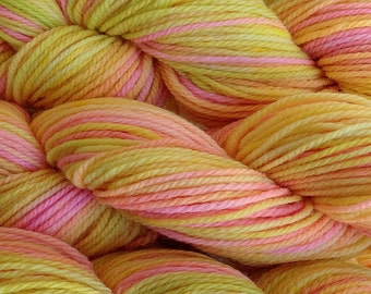 Handpainted Merino Wool Worsted Weight Yarn in Mango Tango Yellow Pink Green