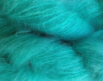 Hand Painted Mohair Yarn in Ice Blue Fingering Weight