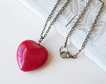 SINGLE HEART- Deep Red Jade/ July birthstone jewelry/Ruby Jade necklace/Natural Stone Necklace/Valentine's Day Gift