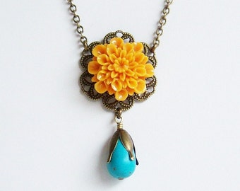 Mustard Dahlia Necklace, Vintage Mustard Flower Necklace/Turquoise Necklace