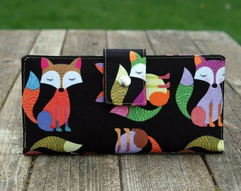 Fox wallet clutch iPhone wallet vegan multicolored foxes