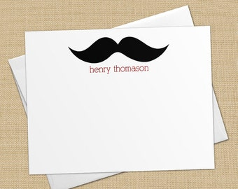 Mustache - Set of 8 CUSTOM Personalized Flat Note Cards/ Stationery