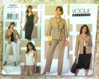 Vogue Wardrobe Sewing Pattern UNCUT V2815 Sizes 6-10 Shirt-Jacket Top Skirt and Pants