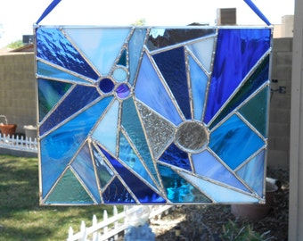 Stained Glass Panel -Handmade- Blue- Clear-Suncatcher-Unique-House Warming-Mothers Day-Fathers Day-Birthday- Gift for Her-Gift for Him