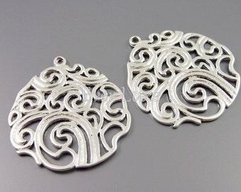 1765-MR (2 pcs) Matte rhodium plated round swirl pendants