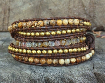 Picture Jasper,Fire Cherry Quartz,Brass 5 Wrap Leather Bracelet