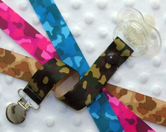 Camouflage Soothie / Pacifier Clip - Green , Pink, Brown OR Blue