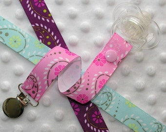 Pink, Blue or Purple Paisley Pacifier Clip Soothie Clip