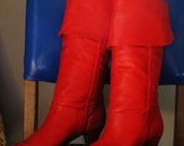 Beautiful Vintage 80s Red Leather Boots