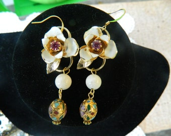 Vintage Shabby Chic Upcycled Rhinestone Flower wedding  Earrings