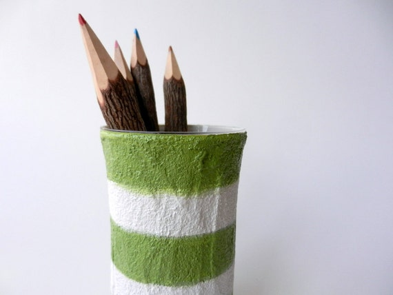 Sage green and white Pencil Holder / spring summer office /  pen cup