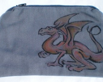 Upcycled Zipper Pouch with Hand Drawn Dragon