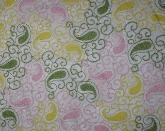 Vintage Fabric~Sheer Embroidered Organza~Pink Green and Yellow Paisleys~Lace Fabric~By The Yard~Price Reduced