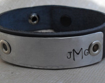 Monogram Graduation Leather Bracelet Personalized Initials Monogram Women's Men's Leather Bracelet