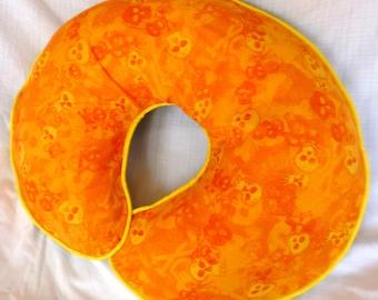 Boppy Pillow Cover  Skulls in Shades of Orange Nursing Pillow Cover for baby Boy or Girl