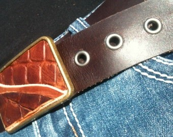 Brown Alligator Abstract Buckle