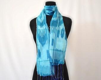 SILK SCARF, blue ikat scarf, head scarf, handmade scarf, hand dyed, natural organic scarf