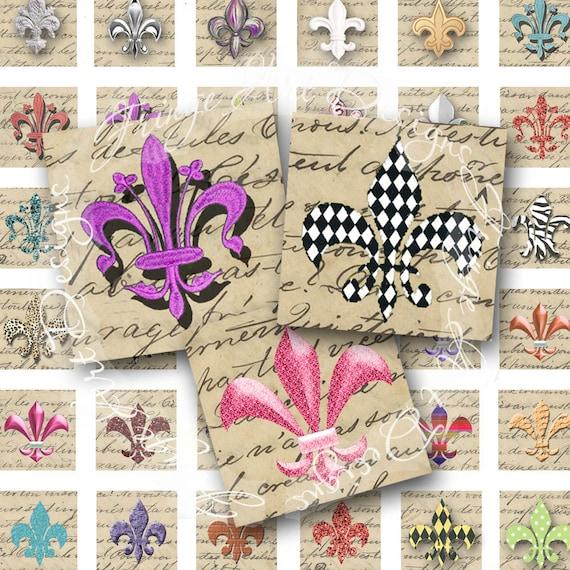 Fleur de Lis 48 digital inchies Vintage French manuscript background digital instant download for scrabble tiles collage charms