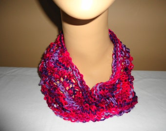 Bold purple and pink cowl for ladies