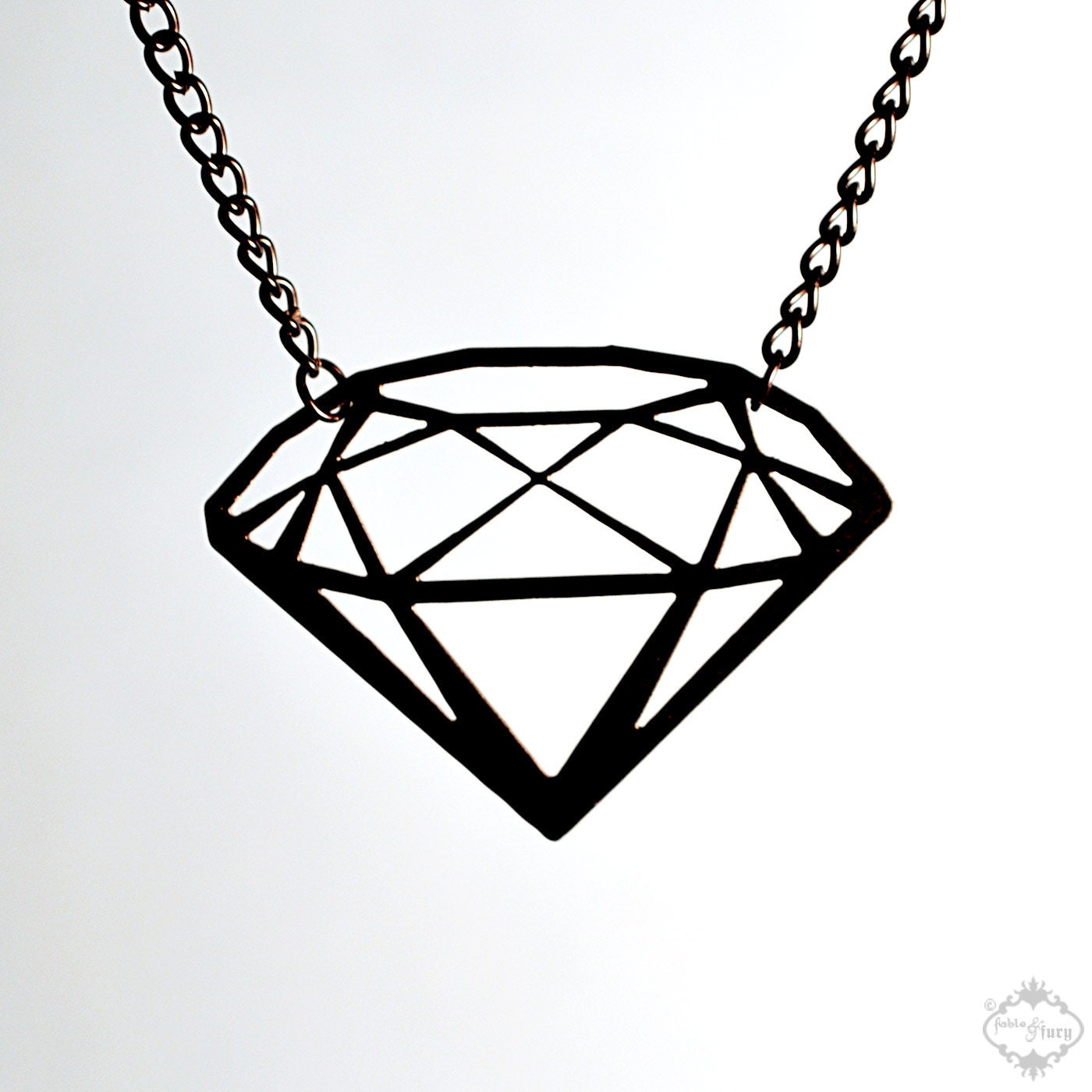 Diamond silhouette necklace in black stainless by fableandfury for Minimal art jewelry