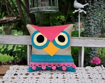 Owl burlap pillow with vintage pink pom poms