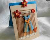 Gift Card Origami Dress Card Gift  Paper Dress Aqua Orange Believe