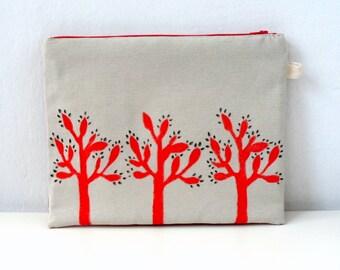 Women  Clutch- Minimalist Red Trees, Ipad Sleeve, Gadget case
