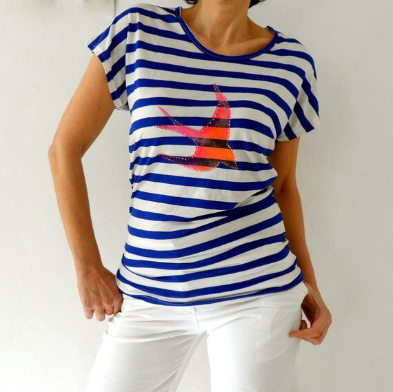 Nautical Loose Fit Womens T Shirt Marine Striped Tunic Tee