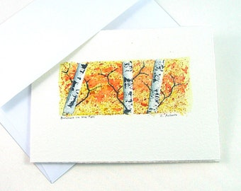 Birch Tree Art Original Watercolor Art Card - Autumn Landscape