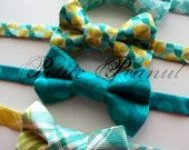 Little Guy Spring Easter Bow Tie - Teal Green Yellow Collection - (Newborn-adult) - Baby Boy Toddler adult- Custom Order - Photo Prop