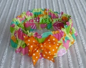 """Party Dog Scrunchie Collar:  Ice Cream Sundae with orange dotted bow - L - 16"""" to 18"""" neck"""