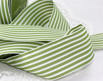 "Light Green/White Striped Ribbon, 1.5"" wide Ribbon by the yard, Weddings, Gift Wrapping, Bouquets, Sewing, Floral Ribbon, Party Supplies"