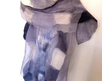 Nuno Felted Scarf, Wavy, Ruffled, Shades Of Gray With White Accents, With 3D Silk Ruffles, Hand Dyed, Merino Wool Silk Scarf