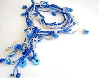 Blue Crochet Necklace, Multistrand long lariat Necklace ecofriendly jewelry crochet flowers