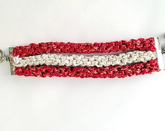 Triple Bracelet  Red and White golden Bright knotted  multi strand rope