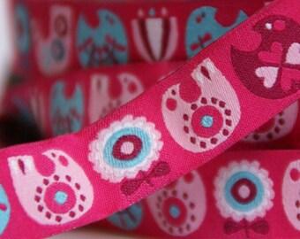 woven ribbon scandinavian birds pink