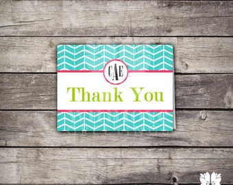 Teal Chevron Thank you Notes