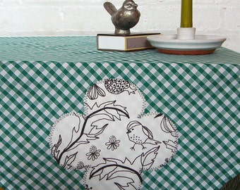 summer song green gingham appliqued square picnic tablecloth