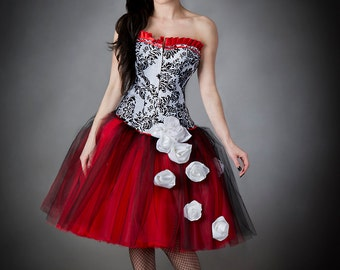 Custom Size damask red and black tulle burlesque prom gown tea length with cascading white roses