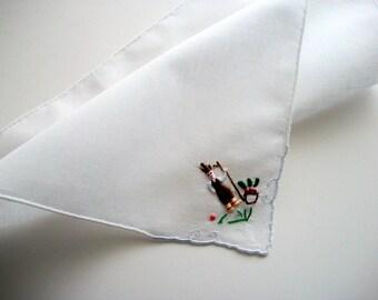 Hand Embroidered Handkerchief Vintage Peasant Harvesting Unused
