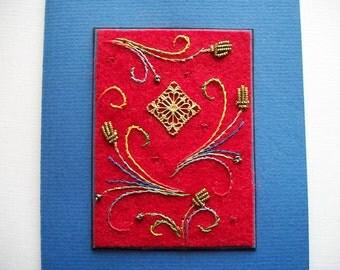 Felt Wall Hanging or Greeting Card Original Fiber Art Medieval Motif One of a Kind